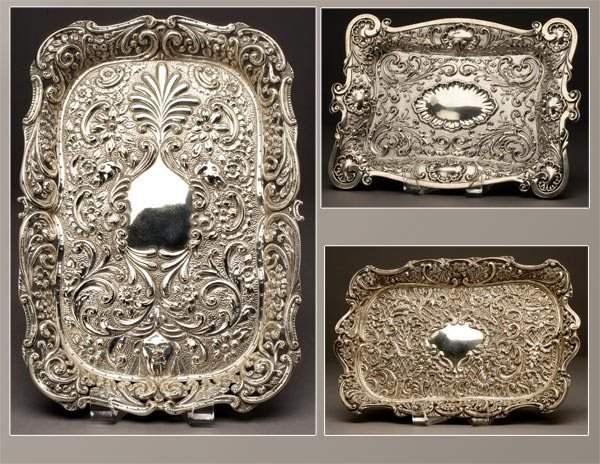 1016: A GROUP OF THREE ENGLISH STERLING CARD TRAYS