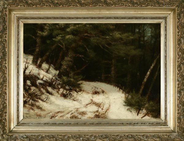 1022: ROBERT M. DECKER, PATH IN WINTER LANDSCAPE