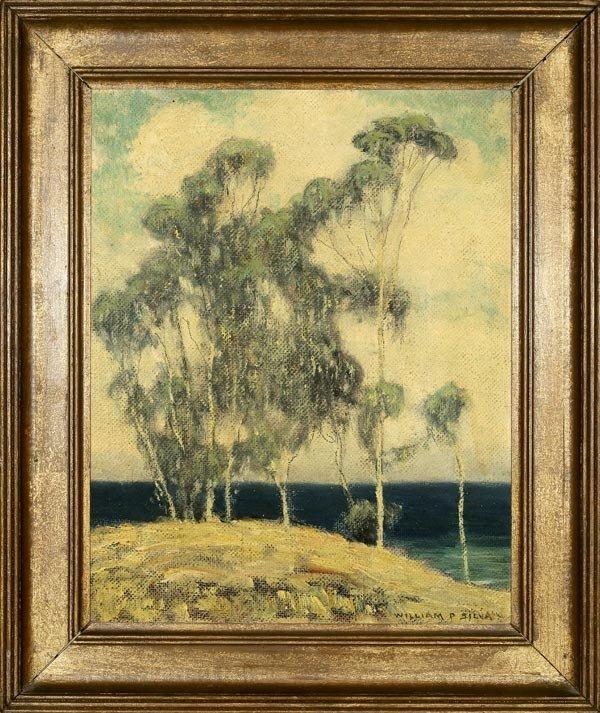 """1024: WILLIAM P. SILVA, """"HILLTOP BY THE SEA"""", OIL"""