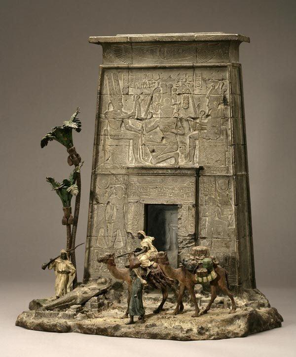 1073: FRANZ BERGMAN VIENNA BRONZE EGYPTIAN LETTER BOX