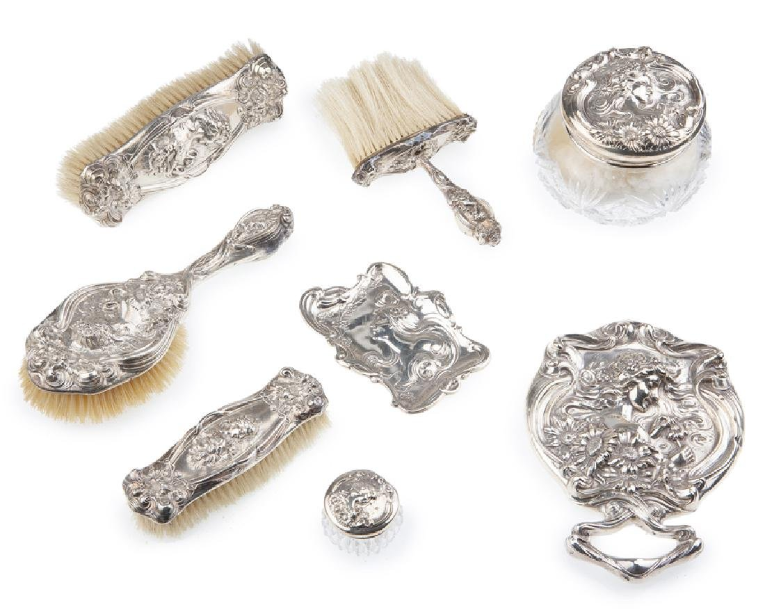 An Unger Brothers sterling silver vanity set
