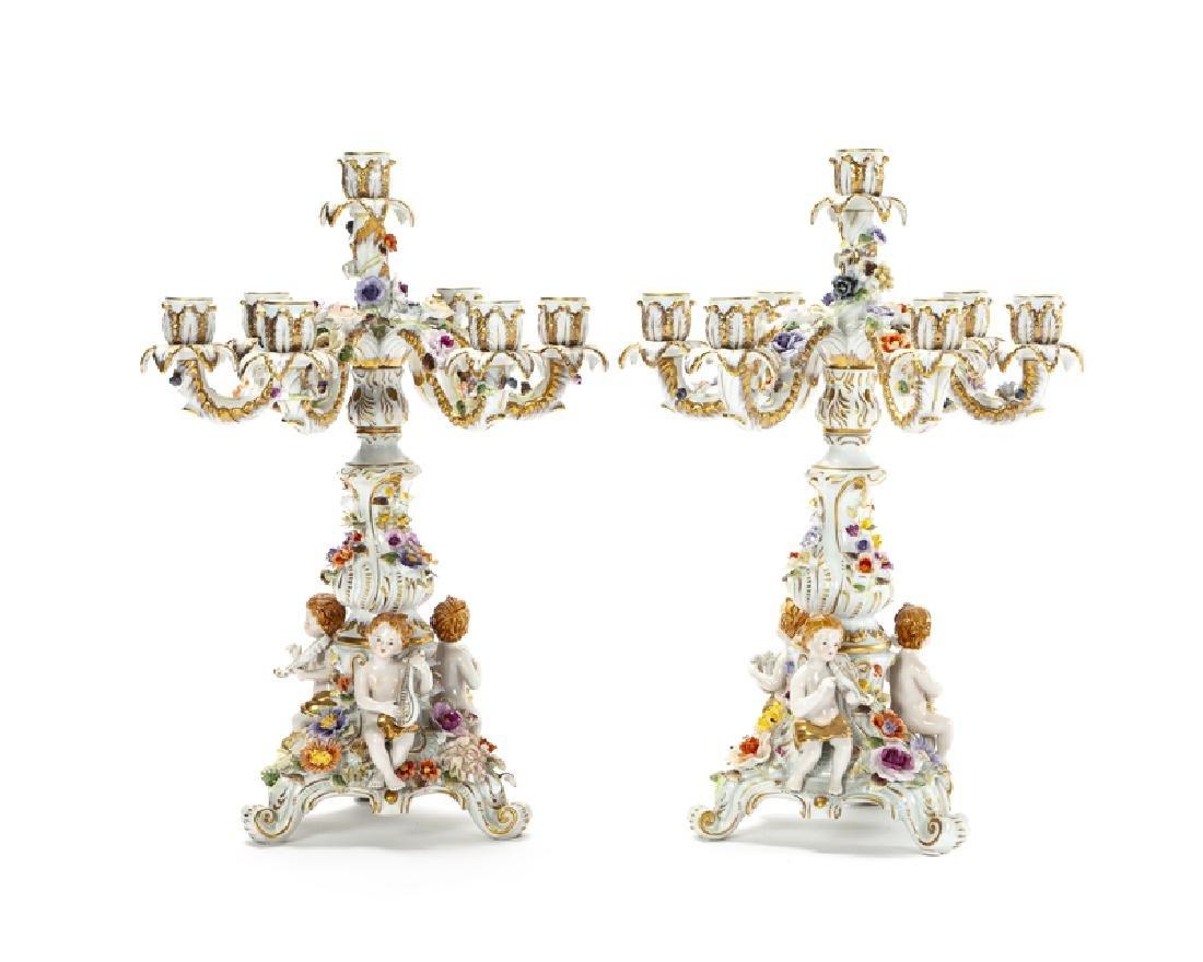 A pair of Meissen candelabra