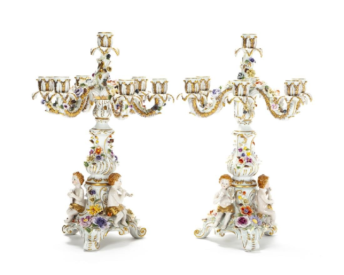 A pair of Meissen candelabra - 2