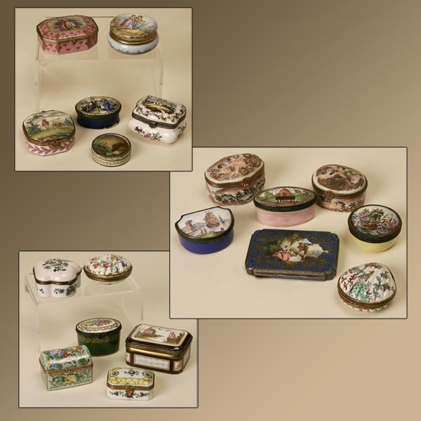 2001: A GROUP OF 19 CONTINENTAL ENAMEL SNUFF BOXES