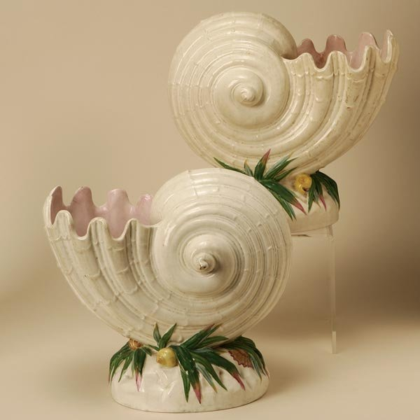 2003: A PAIR OF MINTON SHELL-FORM VASES