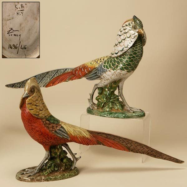 2011: A PAIR OF ITALIAN FAIENCE FIGURES OF PHEASANTS