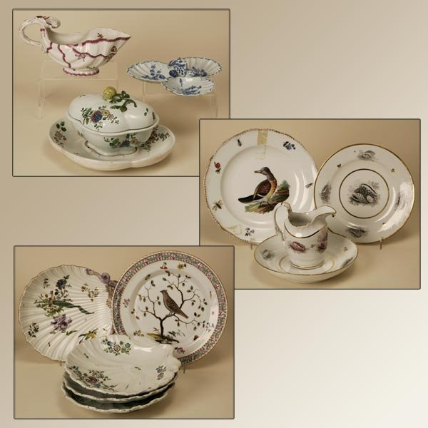 2127: A GROUP OF PORCELAIN SERVING AND TABLE PIECES