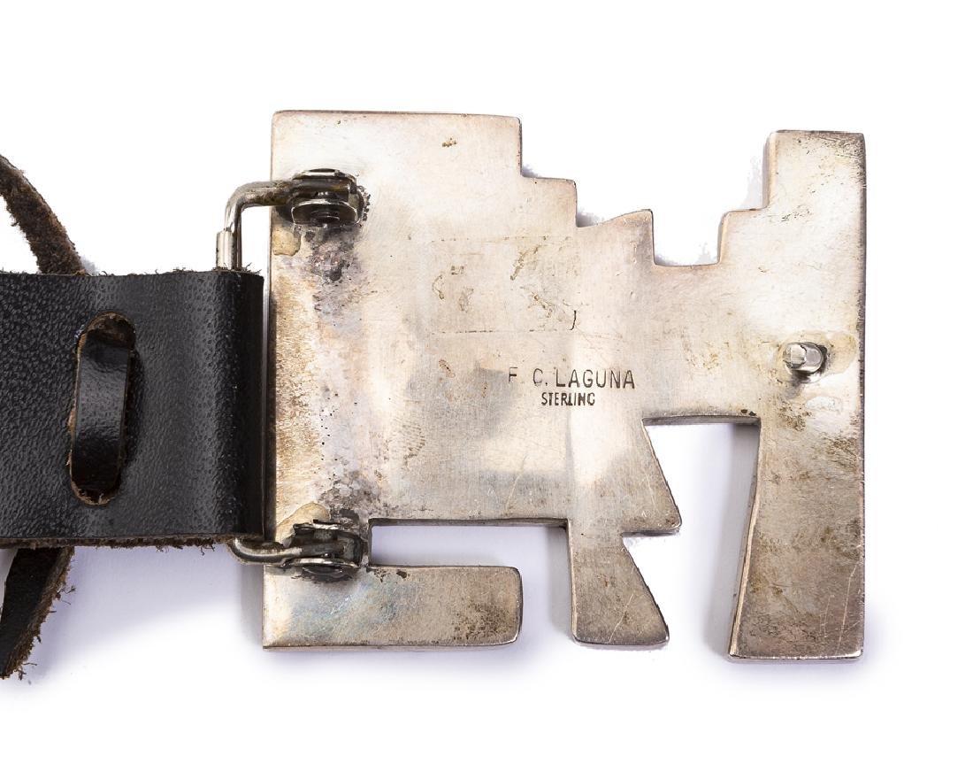 A Laguna stone-inlaid silver concho belt, Frank Carrill - 3