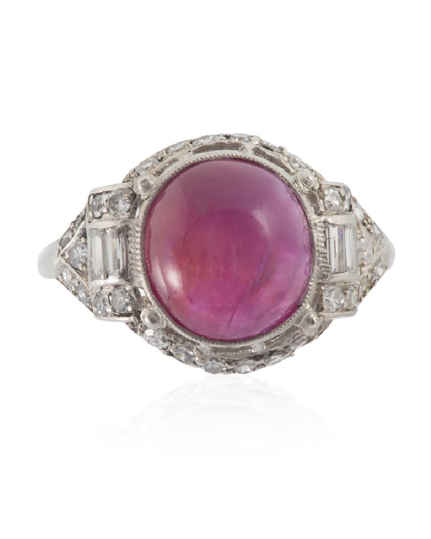 An Art Deco natural Burmese ruby and diamond ring