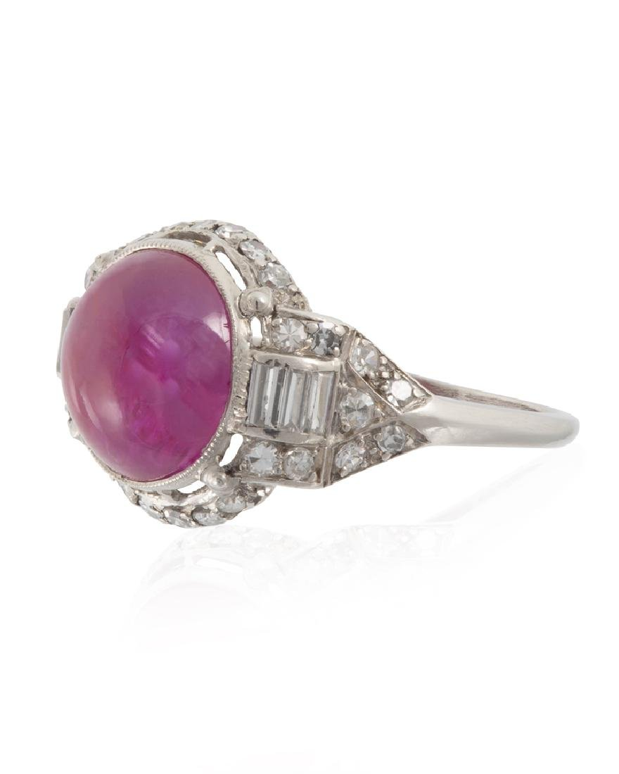 An Art Deco natural Burmese ruby and diamond ring - 2
