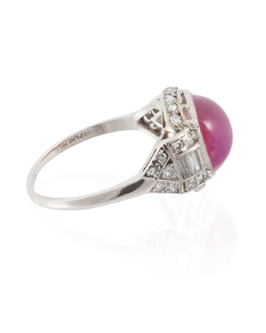 An Art Deco natural Burmese ruby and diamond ring - 3