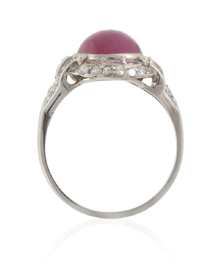An Art Deco natural Burmese ruby and diamond ring - 4