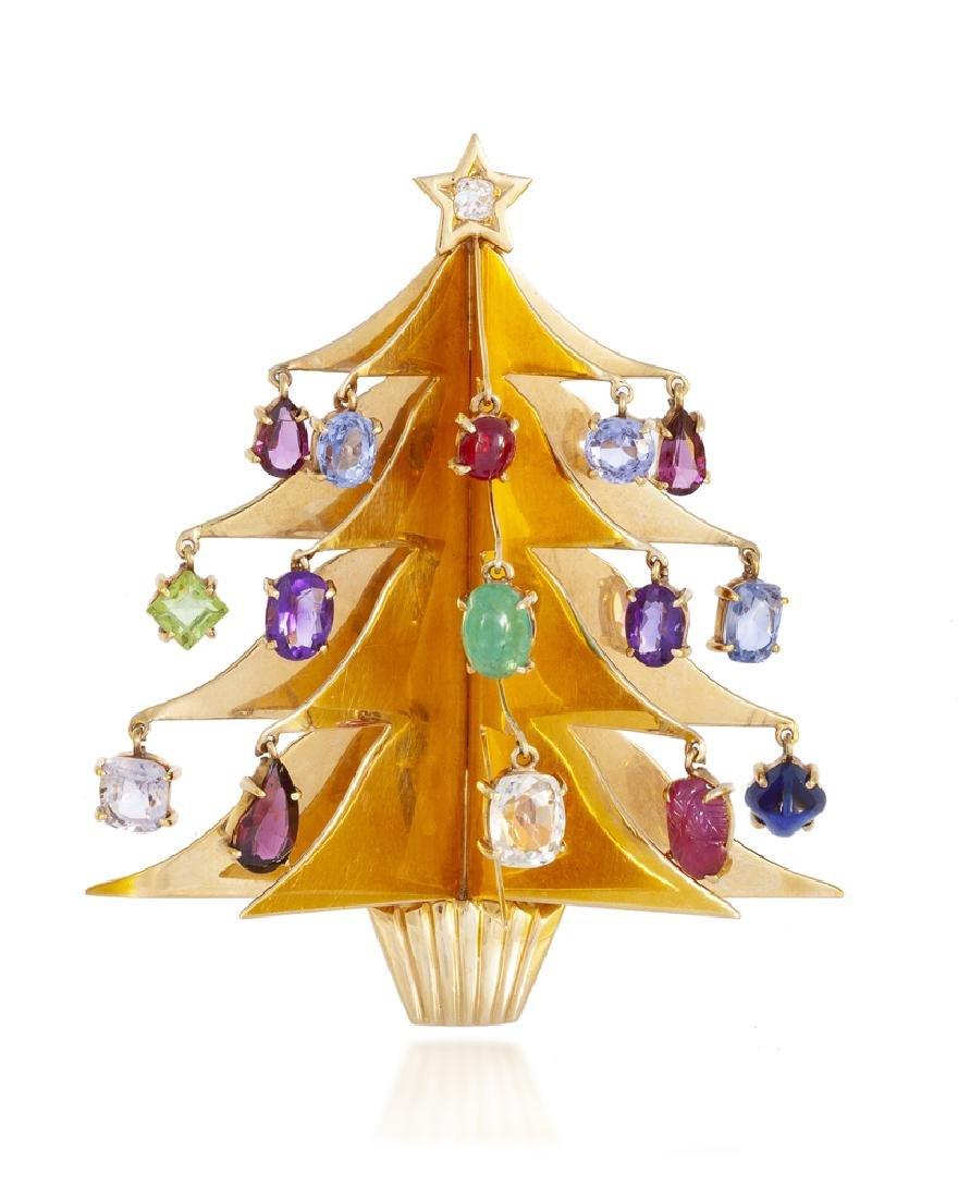 A Retro gem-set Christmas tree brooch