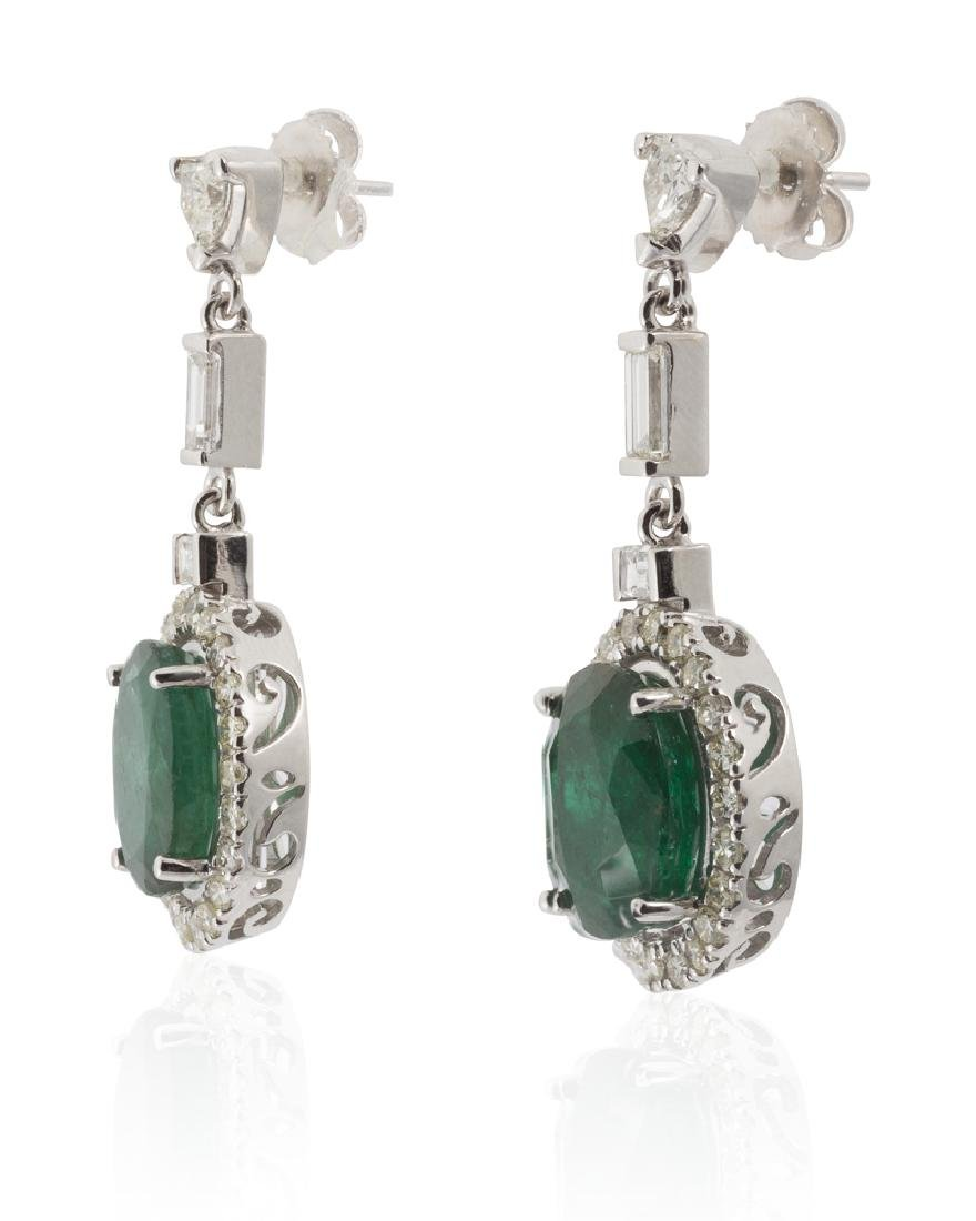 A pair of emerald and diamond earrings - 2