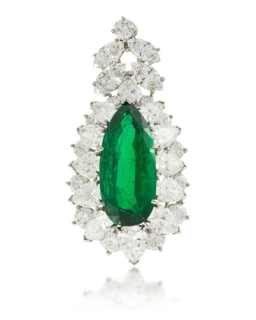 A Colombian emerald and diamond pendant