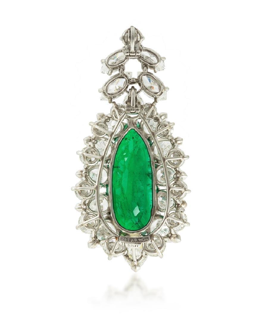 A Colombian emerald and diamond pendant - 2