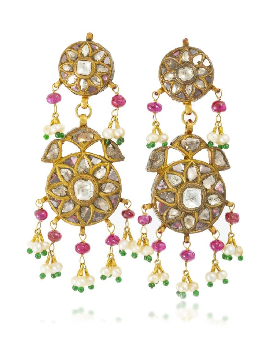 A pair of Indian diamond, enamel and gem-set earrings