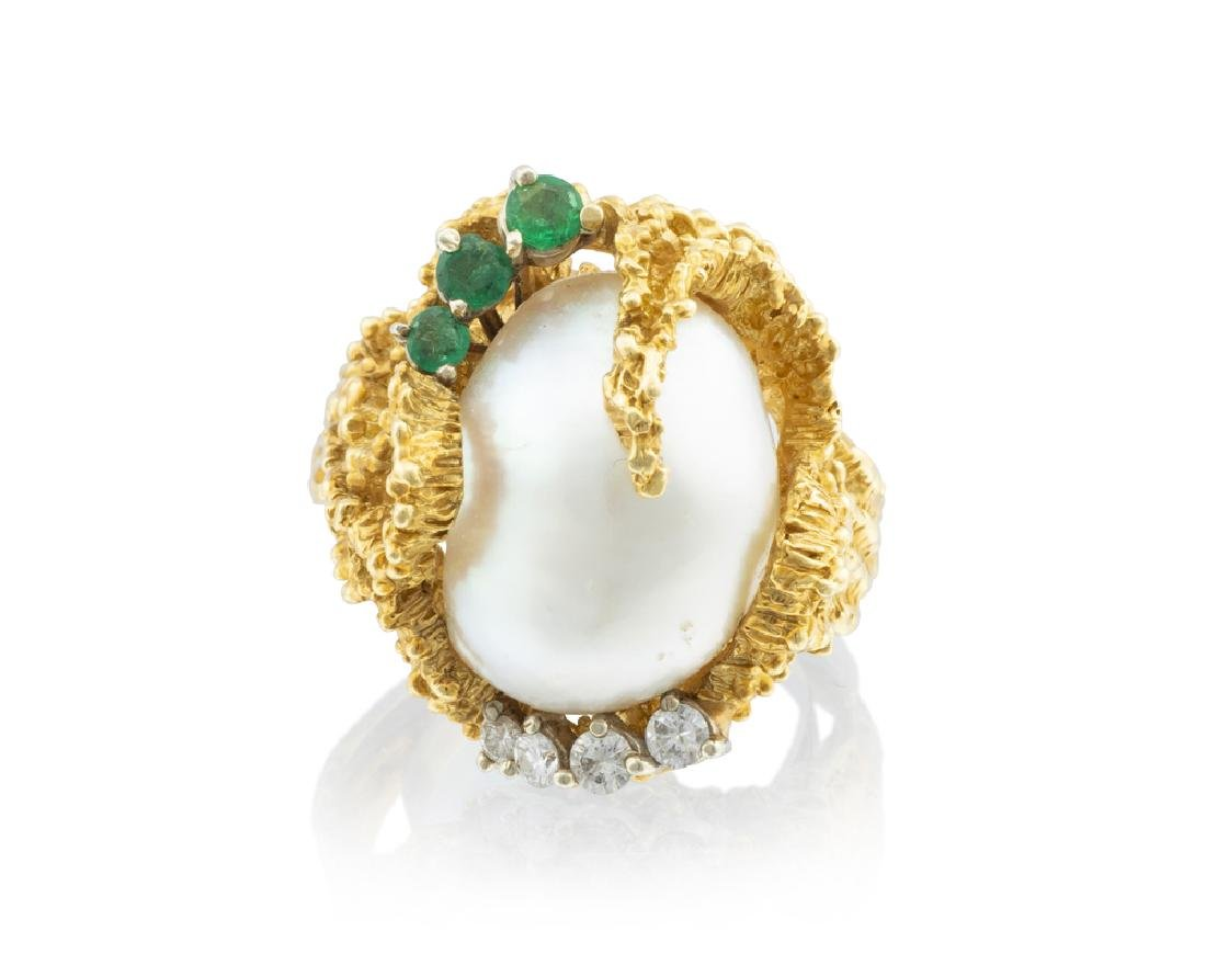 A baroque South Sea cultured pearl, emerald and diamond