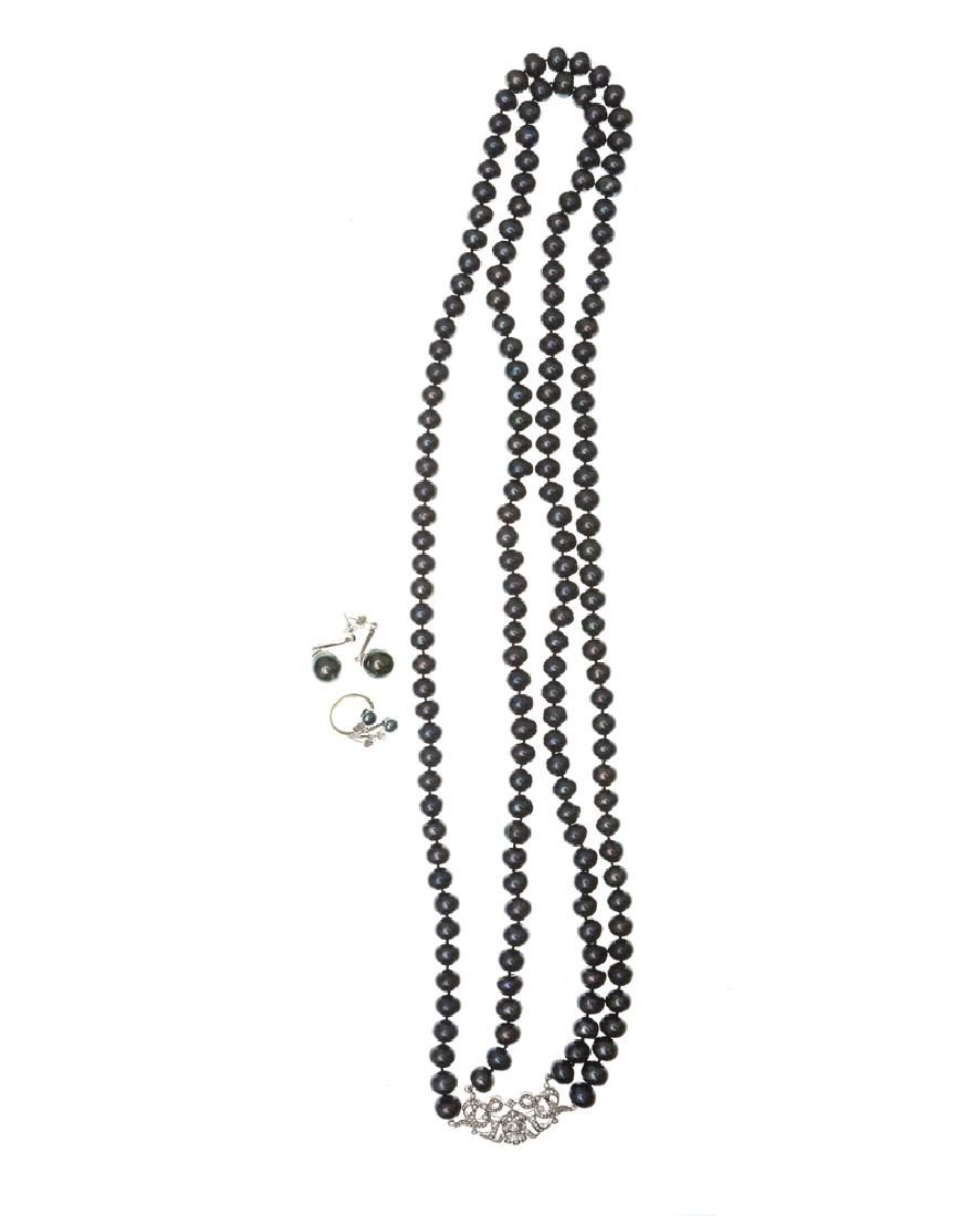 A group of treated cultured pearl and diamond jewelry