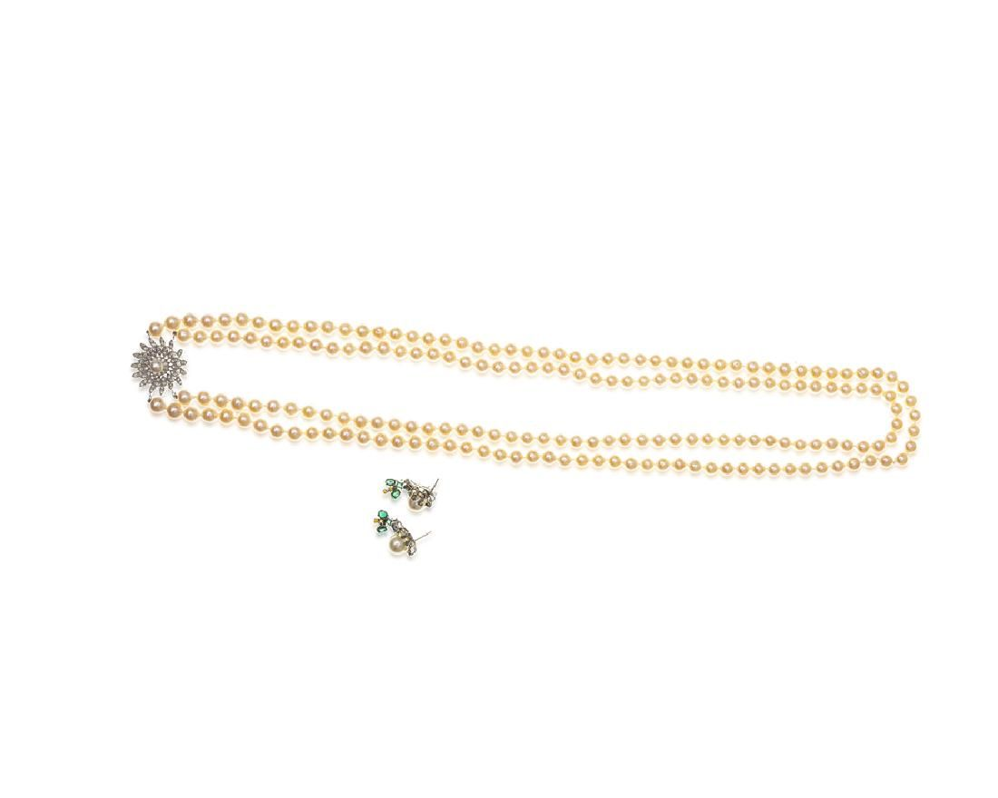 A group of cultured pearl and gemstone jewelry items
