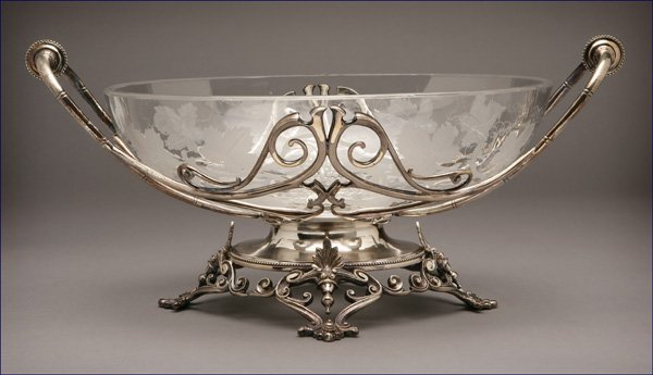 1007: Victorian style metal & etched glass center bowl