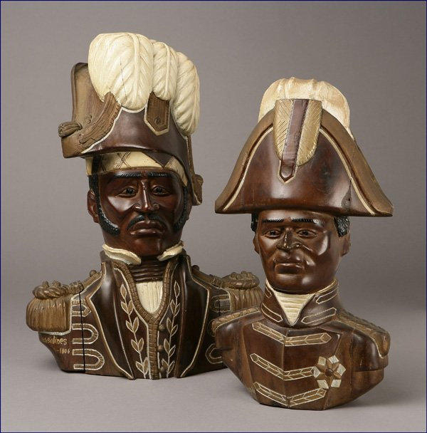 1013: Two carved wood busts of  Dessalines & Christophe