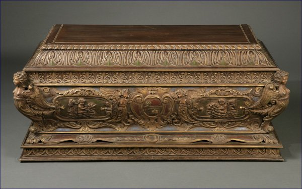 1025: An Italian Baroque style painted walnut coffer