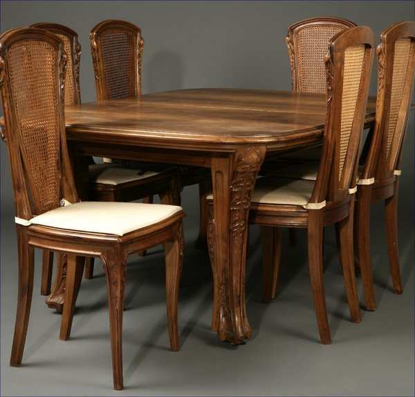 1132: Majorelle ''Les Bles'' walnut dining table chairs