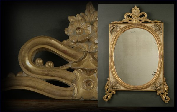 1007: An Italian Neoclassical gilt & grey painted mirro