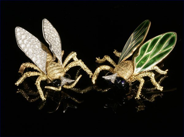 1021: Two gold, diamond, bee brooches, one Olga Tritt