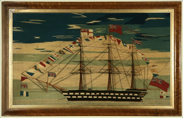 1210: A Victorian woolwork picture Royal Navy ship