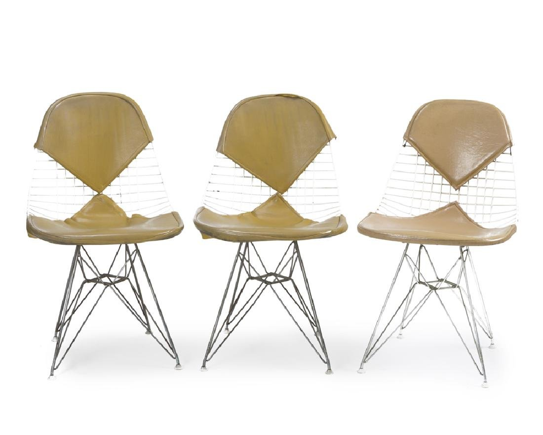 Three Eames for Herman Miller DKR ''Wire Mesh'' chairs