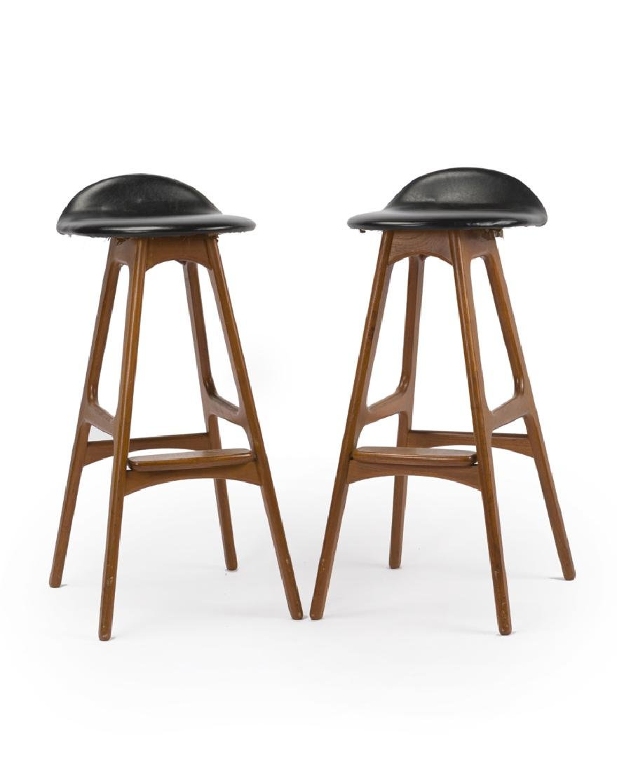 A pair of Erik Buch ''Model 61'' walnut bar stools