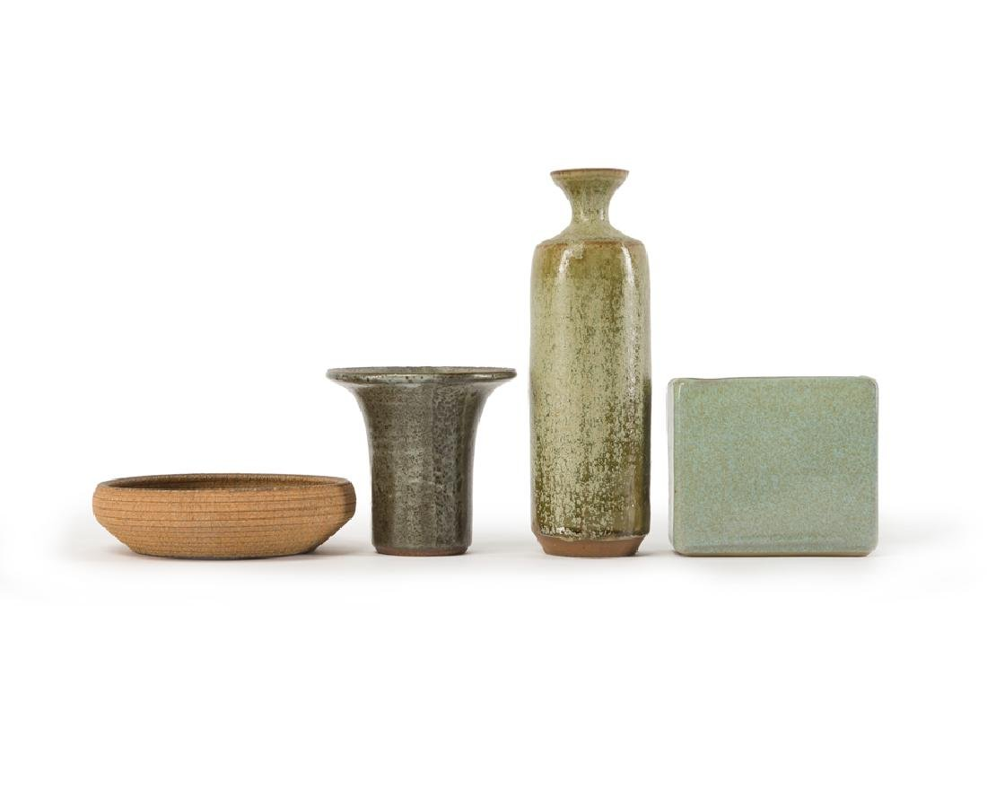 Four studio pottery pieces