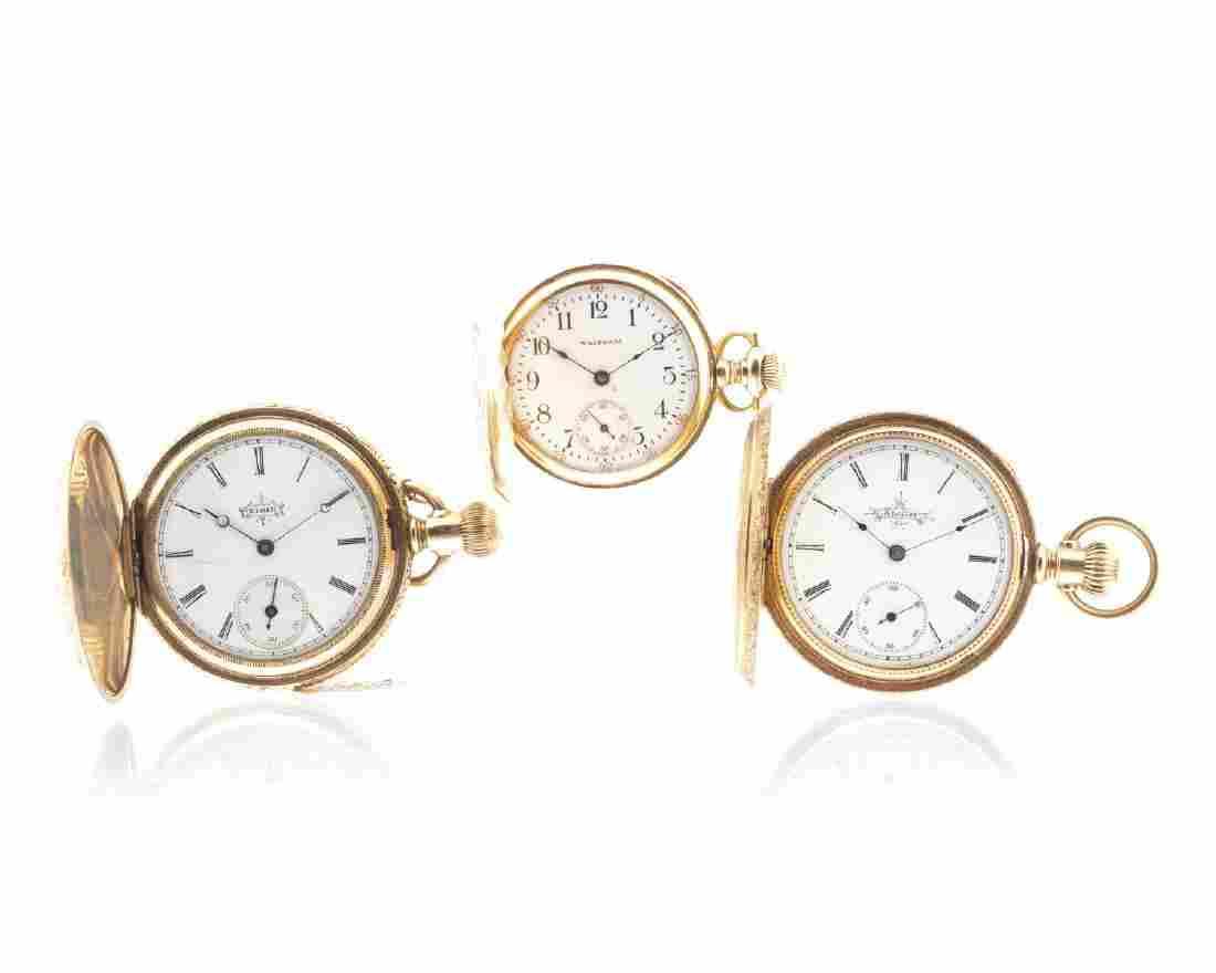 Three ladies 14k gold pocket watches