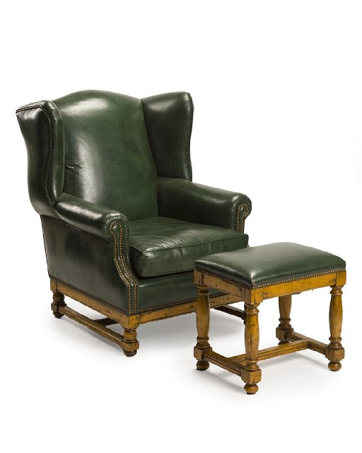 Outstanding A Green Leather Wing Back Chair And Ottoman Camellatalisay Diy Chair Ideas Camellatalisaycom
