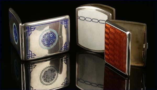 1007: Armenian & German silver enamel cigarette cases