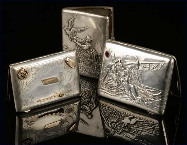 1011: Three Russian silver cigarette cases