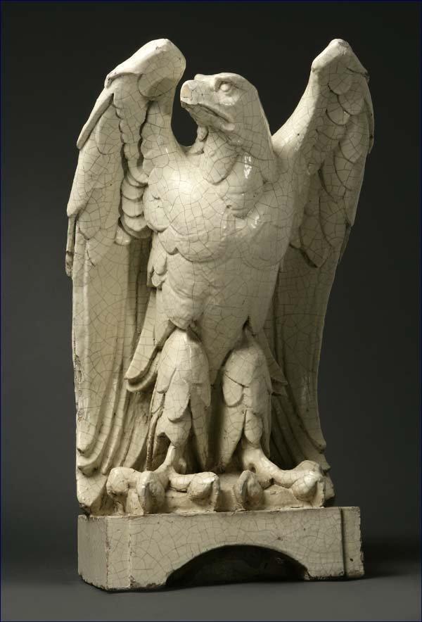 1018: A glazed ceramic figure of an eagle