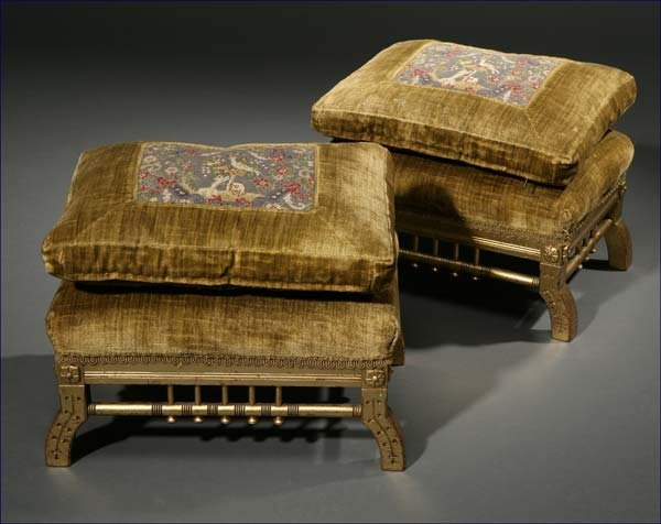 1019: A pair of Aesthetic Movement giltwood footstools