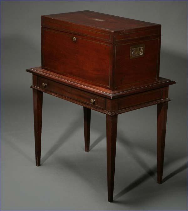 1021: A Benson & Hedges mahogany humidor on stand