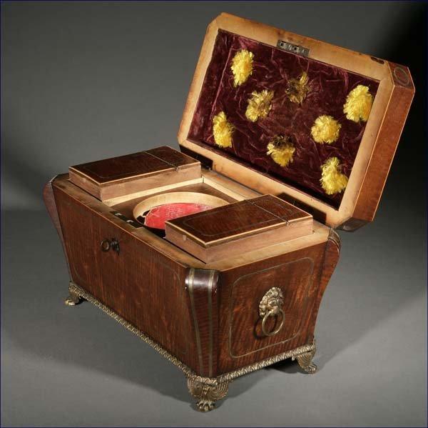 1022: William IV brass inlaid mounted mahogany tea cadd