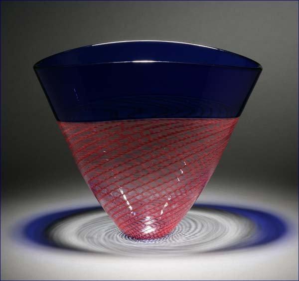 1198: Giampaolo Seguso Murano Rete Rossa art glass vase