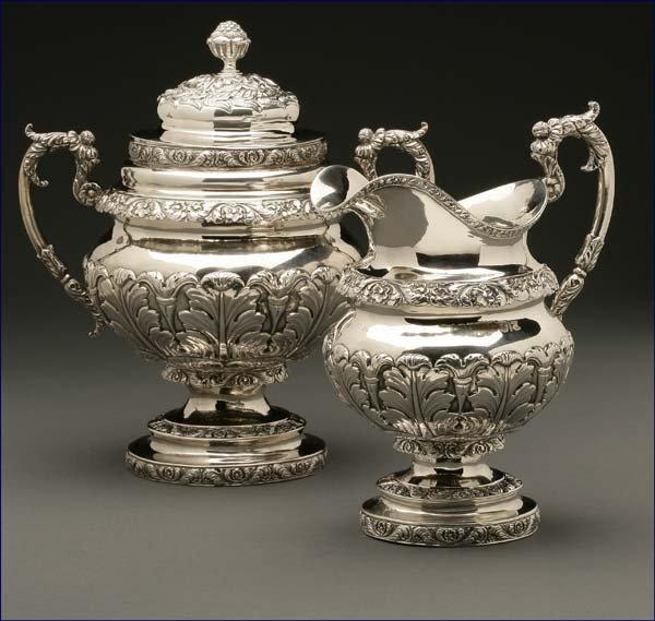 1246: A Frederick Marquand coin silver sugar bowl & jug