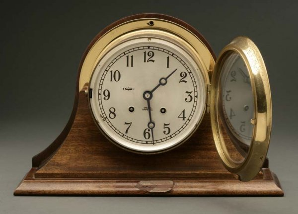 2005: A Chelsea brass and walnut ship's bell clock