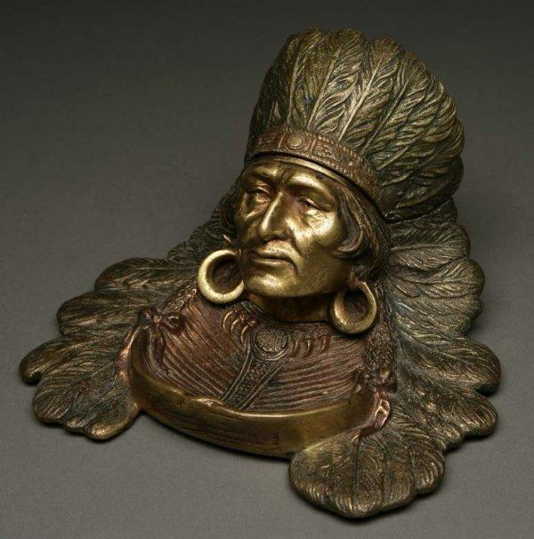 2006: Native American Chief figural bronze inkwell