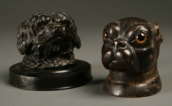 2007: Two canine dog-form wood and metal inkwells