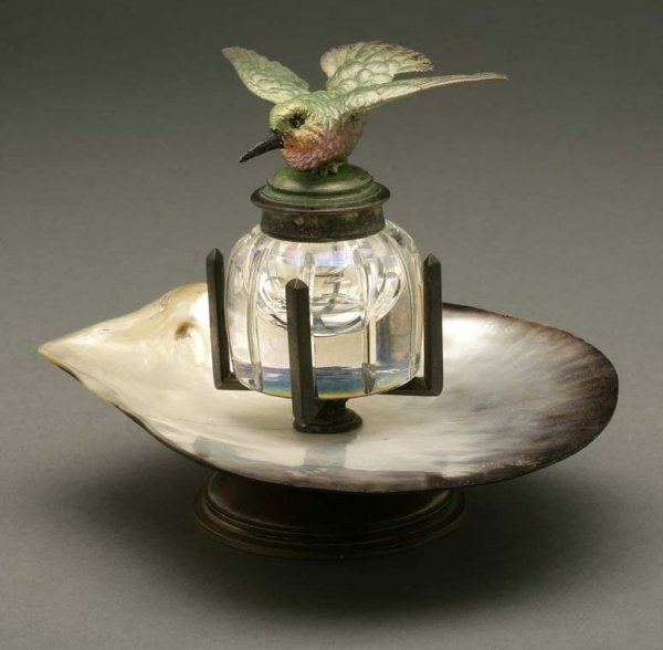 2009: Painted metal, glass & shell hummingbird inkwell