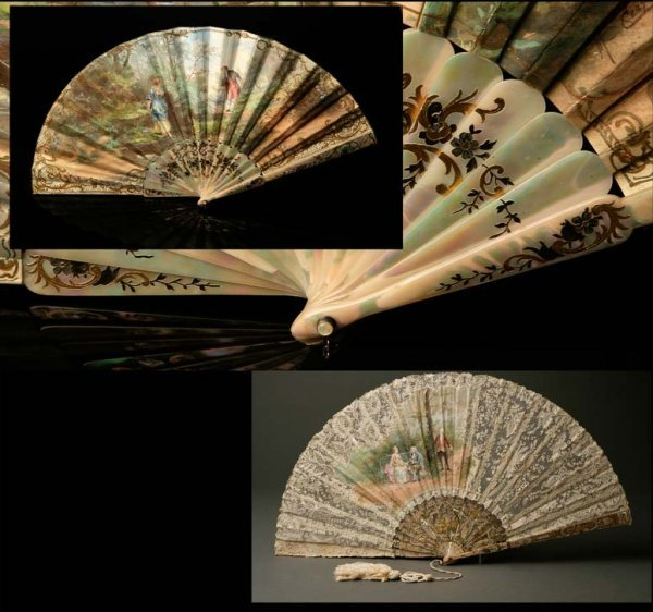 2010: 2 Continental painted fans, mother-of-pearl, lace