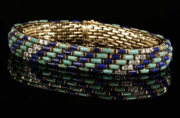 2014: A gold, diamond, turquoise and lapis bracelet